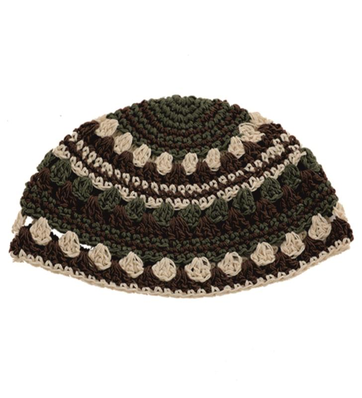 Frik Kippah 23 Cm- Beige-brown-olive Green Striped Design