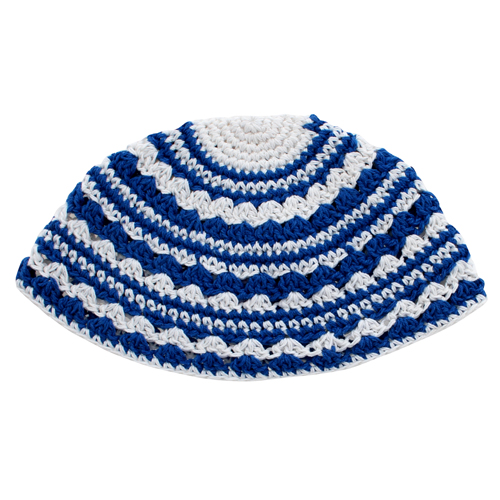 Frik Kippah 24 Cm- Blue And White Striped Design