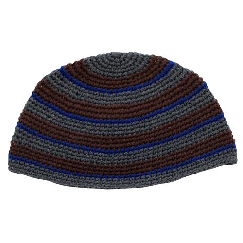 Frik Kippah 26 Cm- Gray And Brown Stripes