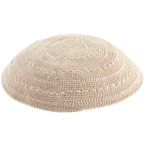 Knitted DMC Kippah 18cm- White With Holes