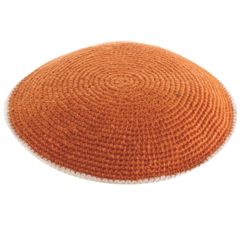 D.m.c Flat Knitted Kippah 9cm- Orange With White Stripes
