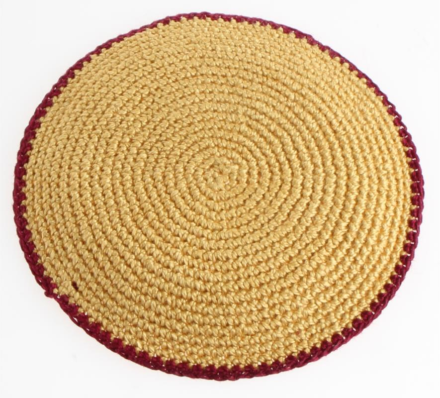 Knitted Flat D.m.c Kippah 9 Cm- Beige With Bordeaux Stripe
