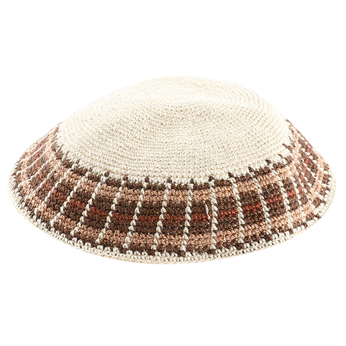 Knitted DMC Kippah 18cm- Geige With Colors Rim
