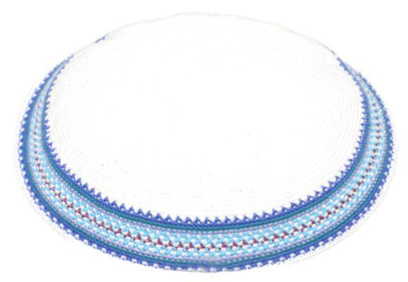 Knitted D.m.c Kippsh 20 Cm - White With Light Blue