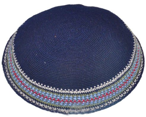 Knitted D.m.c Kippsh 20 Cm - Blue With Colorful Decorations Around
