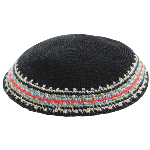 Knitted DMC Kippah 20cm- Black With Colors Rim