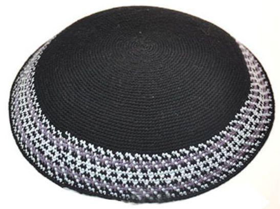 Knitted D.m.c Kippsh 22 Cm - Black With White & Purple Around
