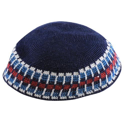 Knitted D.m.c Kippsh 22 Cm- Dark Blue With White