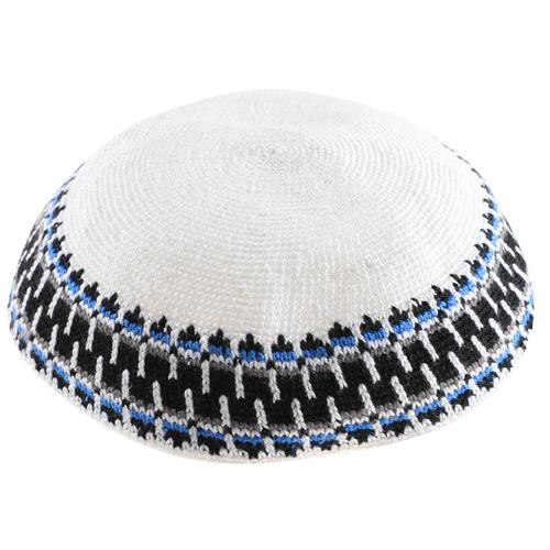 Knitted D.m.c Kippsh 20 Cm - White With Black Gray & Light Blue Around