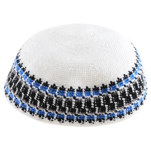 Knitted D.m.c Kippsh 22 Cm - White With Black Gray & Light Blue Around