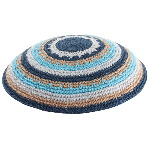 Knitted DMC Kippah 15 Cm- Multicolored And Unique