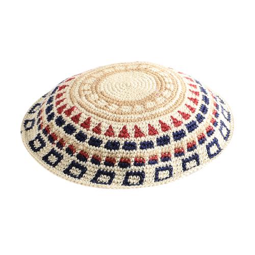 C Knitted DMC Kippah 20 Cm- Colorful