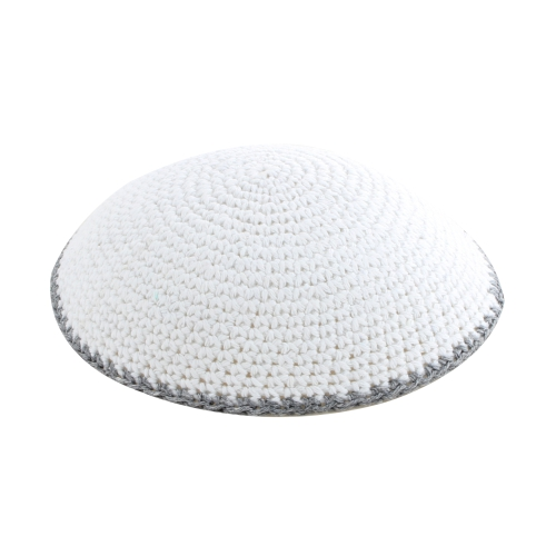 C Knitted Flat DMC Kippah 9 Cm- White With Gray Around