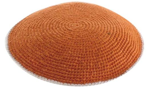 C Knitted Flat DMC Kippah 9 Cm- Orange  With White Around
