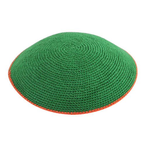 C Knitted Flat DMC Kippah 9 Cm- Green  With Orange Around