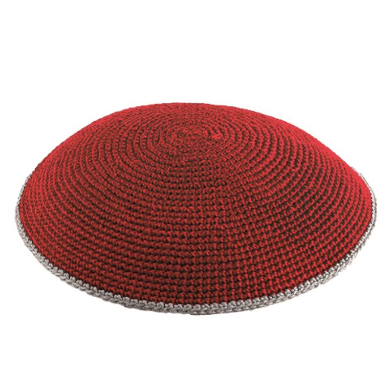 C Knitted Flat DMC Kippah 9 Cm- Red  With Gray Around