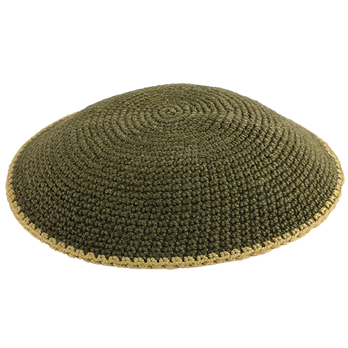 Knitted Flat D.m.c Kippah 13 Cm- Olive With Beige Stripe Around