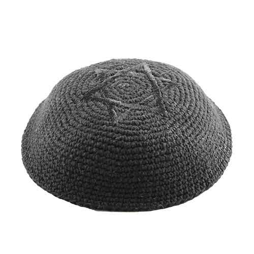 Knitted Kippah 16 Cm- Black With Black Star Of David  Embroidery