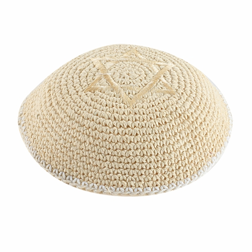 Cknitted Kippah 16 Cm- Beige With Magen David