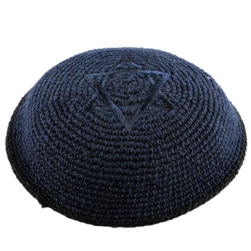 C Knitted Kippah 16 Cm- Dark Blue With Magen David