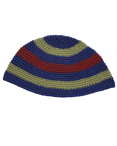 Frik Kippah 22cm- Light Blue- White- Orange Stripes