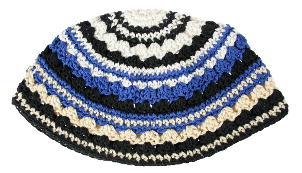 Frik Kippah 21 Cm- Black-light  Blue- White Striped Design