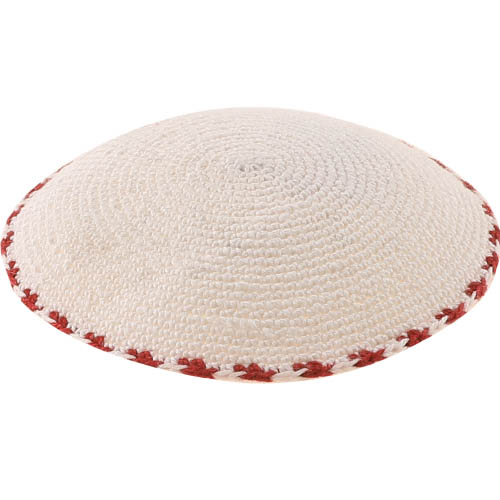 C Knitted DMC Kippah 9 Cm- White With Bourdeaux Around