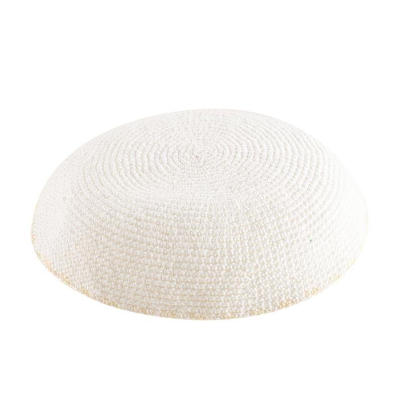 C Knitted DMC Kippah 16 Cm- White With Beige Around