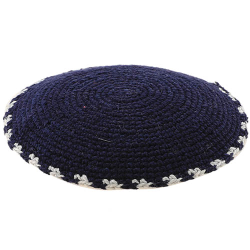 C Knitted DMC Kippah 9 Cm- Black With White Around