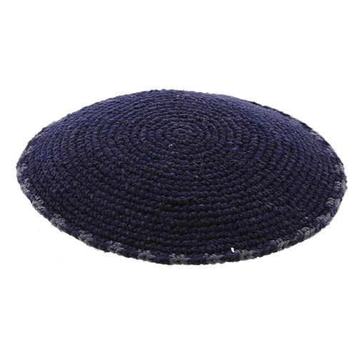 C Knitted DMC Kippah 9 Cm- Black With Gray Around