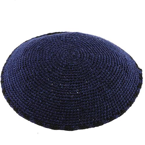 C Knitted DMC Kippah 13 Cm- Blue With Black Around