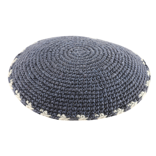 C Knitted DMC Kippah 9 Cm- Gray With Gray Around