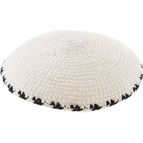 C Knitted DMC Kippah 9 Cm- White With Black Around