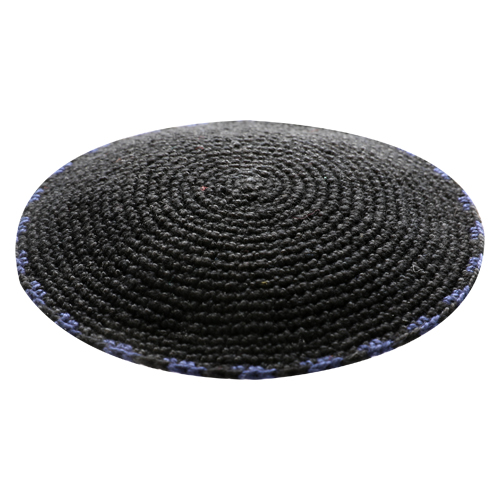 C Knitted DMC Kippah 9 Cm- Black With Dark Blue Around