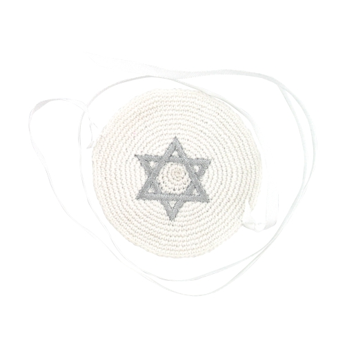 Knitted Kippah 7cm- With Silvered Star Of David