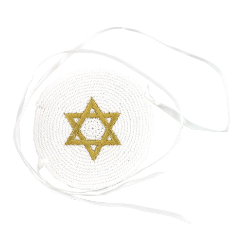 White Baby Knitted Kippah 7 Cm With Gold Star Of David Embroidery + Strings