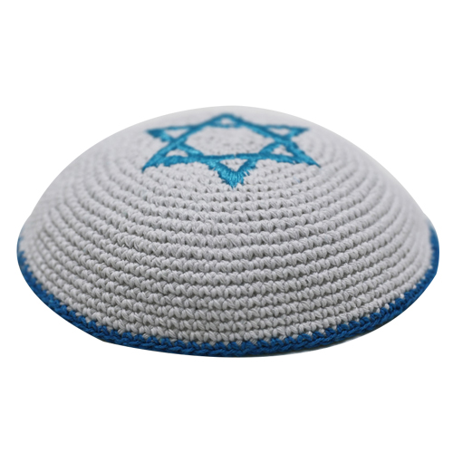 Knitted Kippah 17 Cm - Light Blue Star Of David  Embroidery With Light Blue Stripe Around