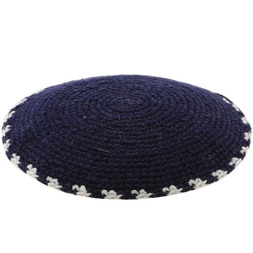 C Knitted DMC Kippah 16 Cm- Blue With Gray Around