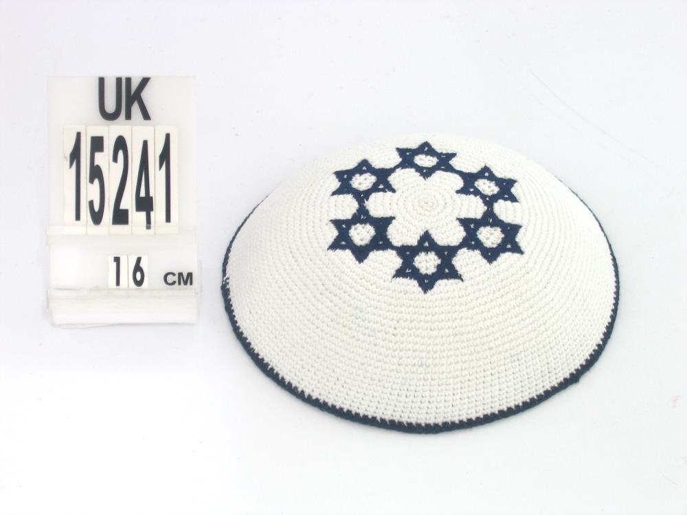 C Knitted  Kippah White 6 Blue M. David 16.5 Cm