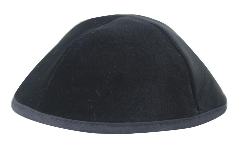 Velvet Premium Kippah Shining Black Size 6 22 Cm- 4 Parts With Rim