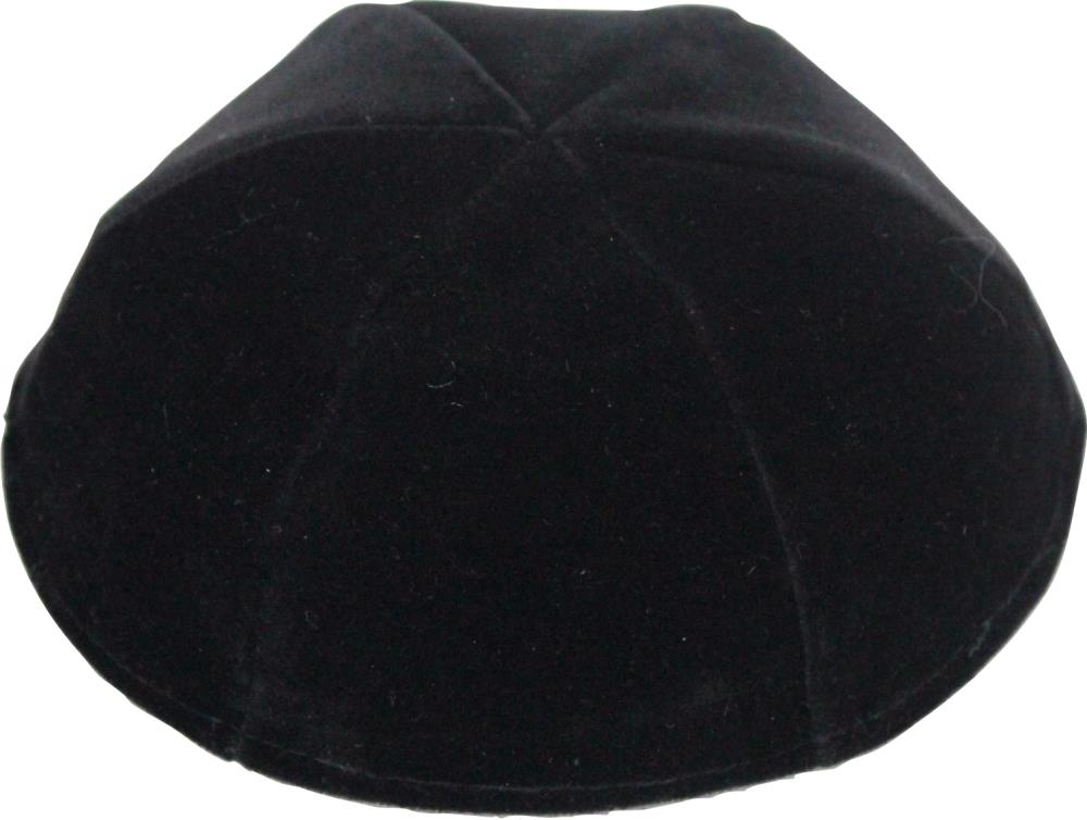Velvet Premium Kippah Shining Black Size 6 22 Cm- 6 Parts No Rim