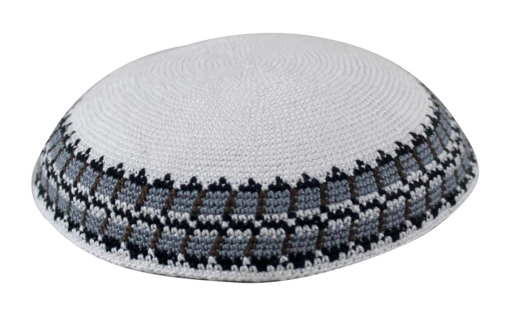 C Knitted D.m.c. Kippah 18 Cm- White With Blue And Gray Around