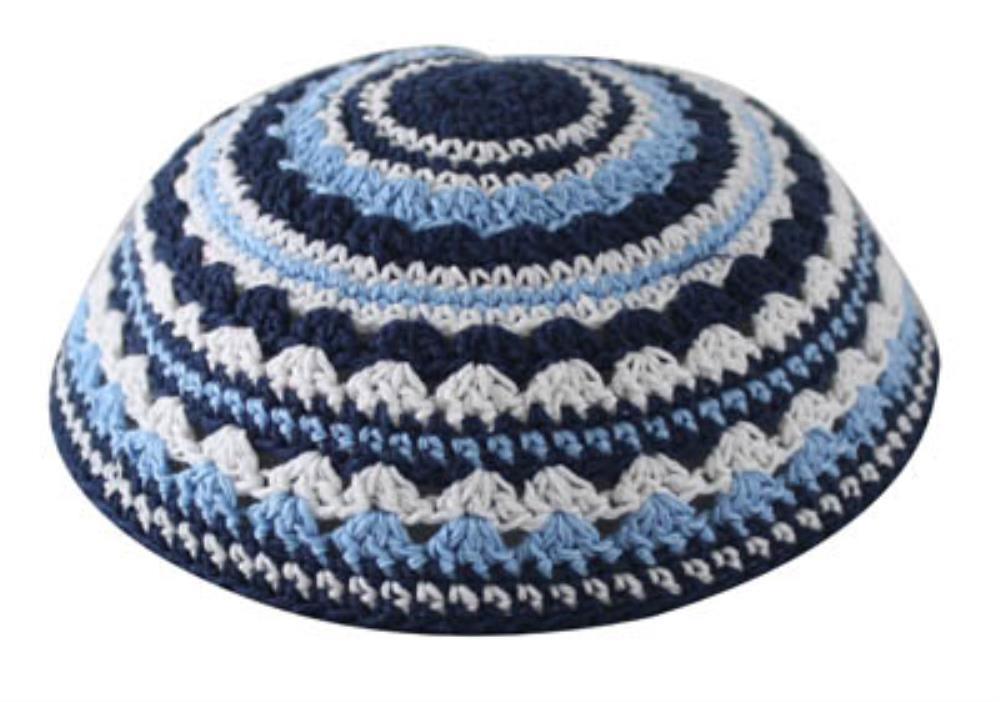 Knitted Kippah 18 Cm- In Blue
