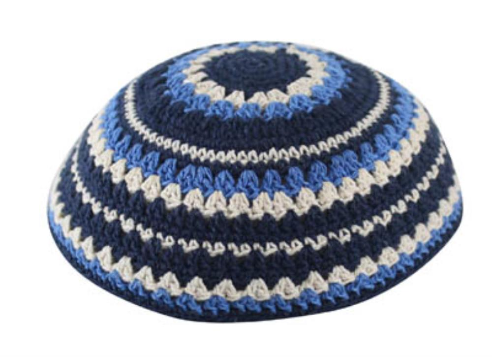 Knitted Kippah 20cm- Blue-light Blue-beige