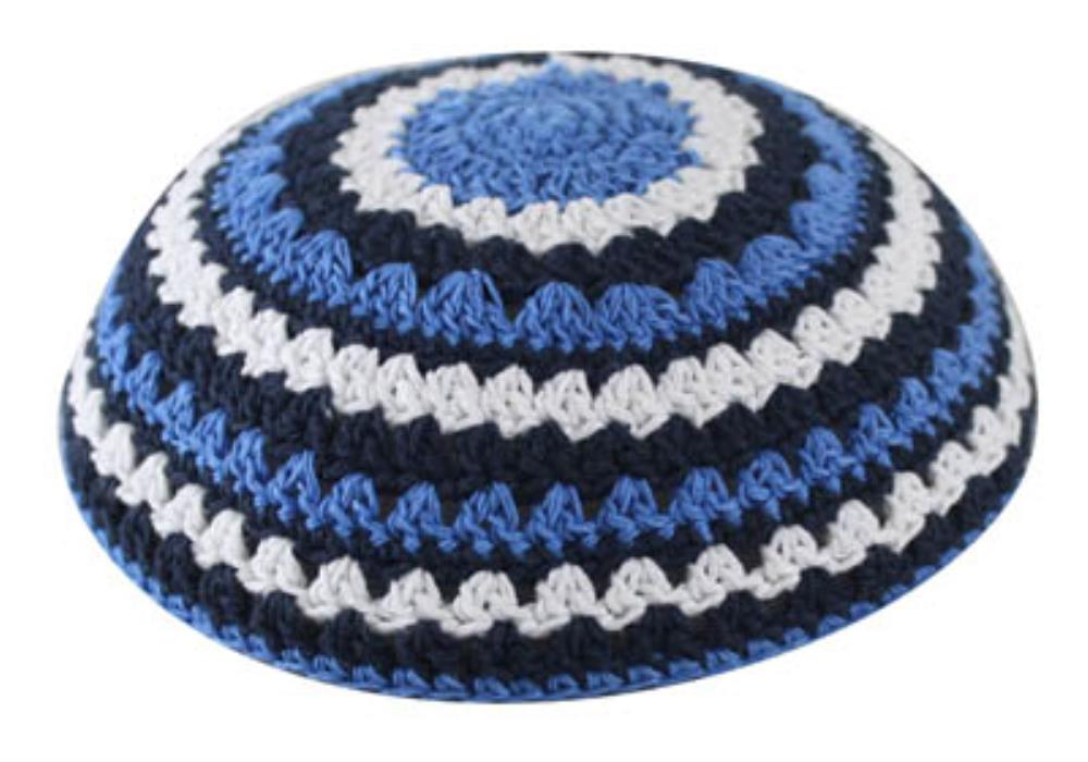 Knitted Kippah 20cm- Blue-light Blue-white