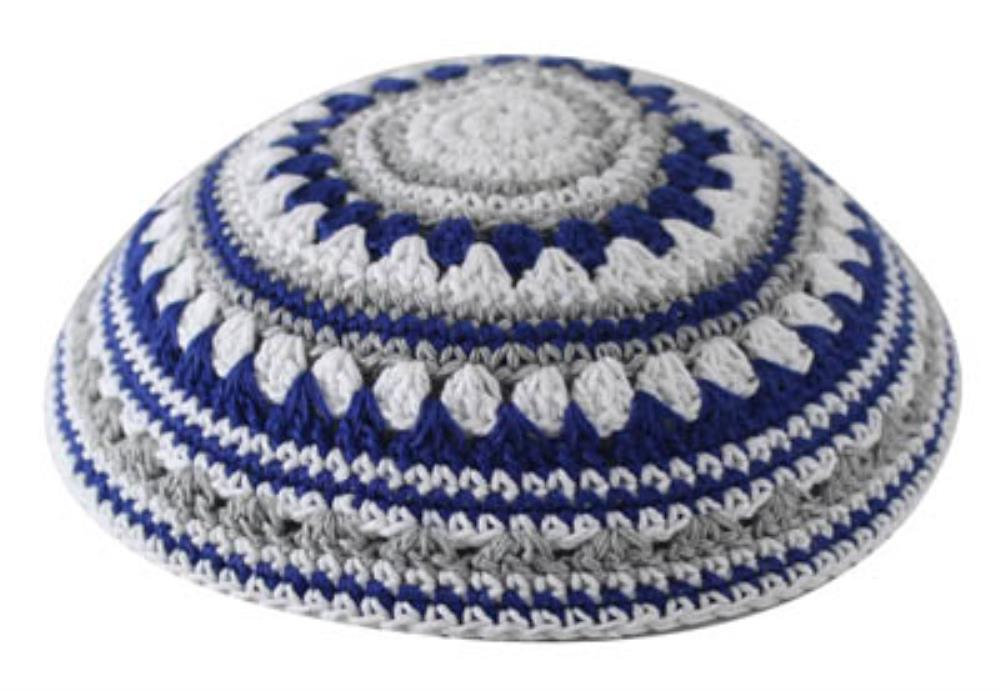 C Knitted Kippah 20 Cm- Blue-gray-white