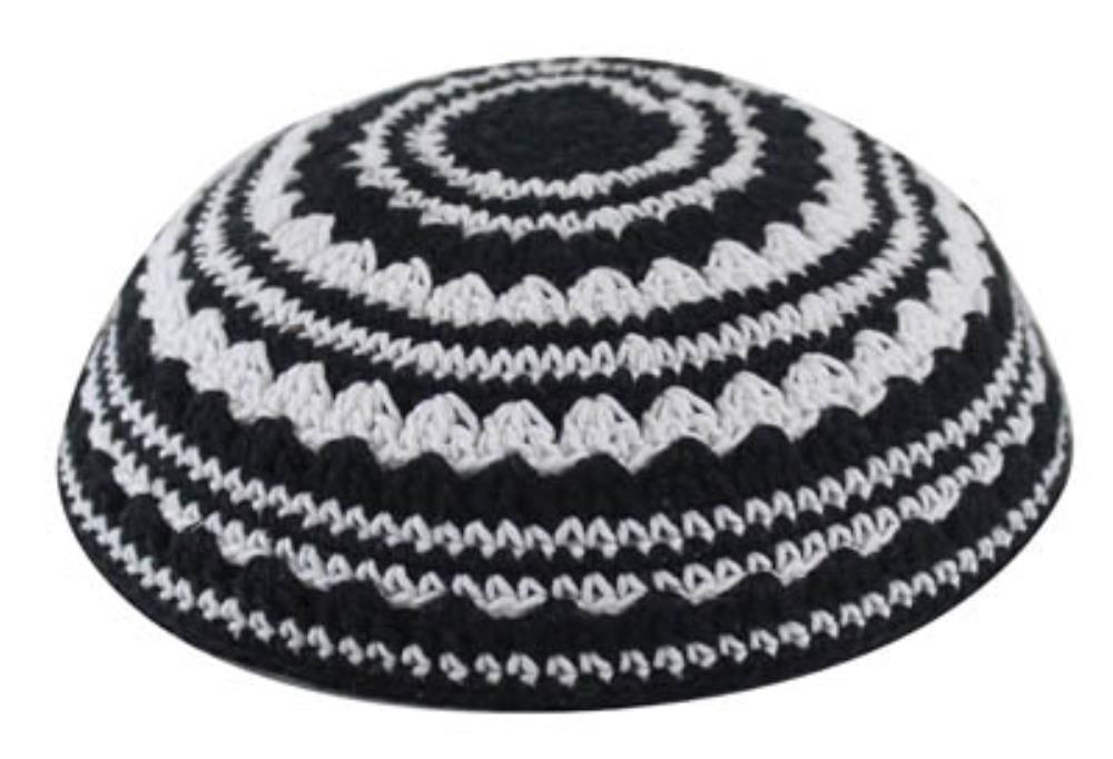 Knitted Kippah 20cm- In Black And White