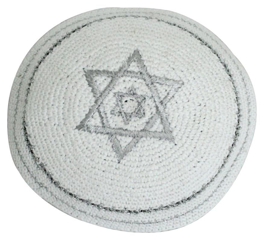 C Knitted Kippah 17 Cm- Embroidery With Magen David