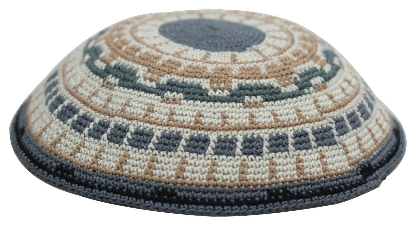 C DMC Kippah 18 Cm- Gray With Beige-green-brown