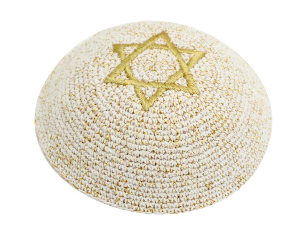 C 17 Cm Knitted Kippah Netazim Star Of David Gold
